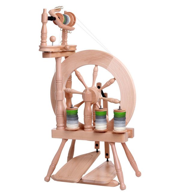 Picture of Traveller Spinning Wheel Double Treadle Single Drive Natural